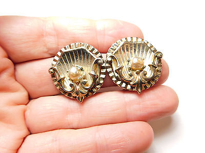 Vintage Gold Tone Ornate Metal Off White Glass Faux Pearl Clip On Earrings