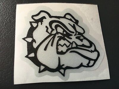 Sticker Autocollant Reflechissant Bouledogue Bulldog Moto Casque Gris Et Noir