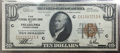 1929 $10 National Currency Federal Reserve Bank Philadelphia  Crisp P5