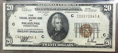 1929 $20 National Currency Federal Reserve Bank Philadelphia  Crisp P7