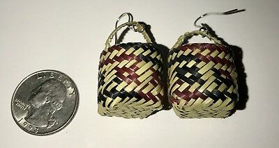 Choctaw Indian Miniature River Cane Basket Earrings