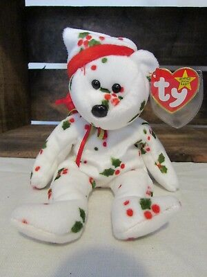 Ty Beanie Baby Christmas 1998 Holiday Holly Teddy Jingle Bell in Hat 1998