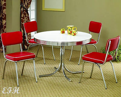 NEW 50u0027s STYLE ROUND RETRO CHROME METAL DINING TABLE SET W/ 4 RED VINYL  CHAIRS