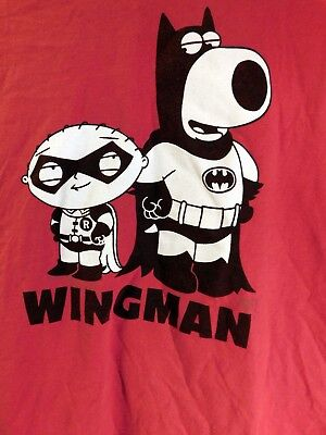Family Guy Brian Stewie Wingman Batman T-shirt Size Large?