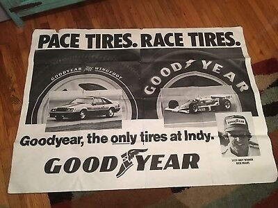 RARE HUGE Indy 500 Poster Banner 1979 Pace Car Goodyear Tire Store Advertising