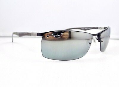 Ray Ban Polarised Semi Rimless Tech Carbon Fibre Mirrored RB8315 & case