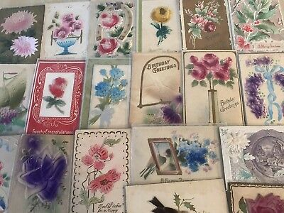 ~ Lot of 25 Antique Heavy Embossed Airbrushed Holidays Greetings~Postcards-p180
