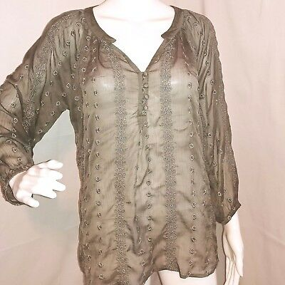 Olive & Oak Womens L Large Gray Sheer Embroidered Floral Boho 3/4 sleeve Blouse