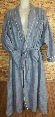 PIERRE CARDIN Mens checkered print Belted ROBE Gray ~ BIG size