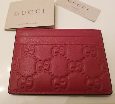Gucci Leather Card Holder Case Brand New Red