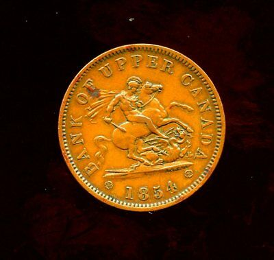 1854 Province Of Canada Colonial Bank Of Upper Canada 1 Penny Token AU CONDITION