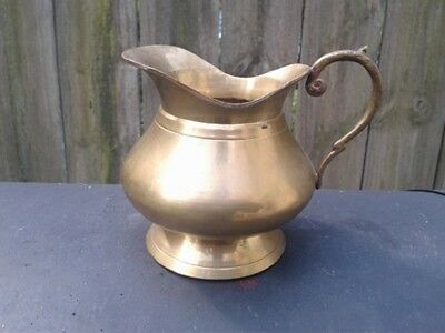 Vintage Solid Brass Small Pitcher With Handle