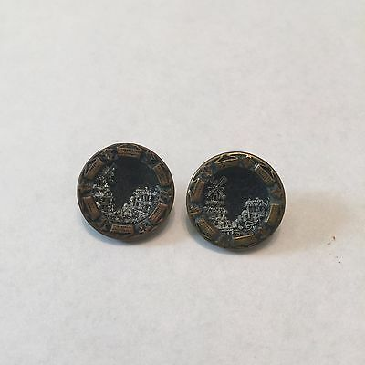 Pair of Antique Victorian Windmill Scene Metal Picture Button