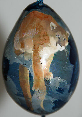 gourd Easter egg, yard or Christmas ornament with mountain lion, cougar, puma