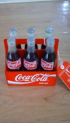 1995 Coca Cola Desk 6-Pak with markers, pencils, paper clips and more