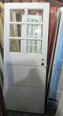 Exterior Antique Wood Door 6 Panes Glass 2 Raised Panels Approx 32 X 79