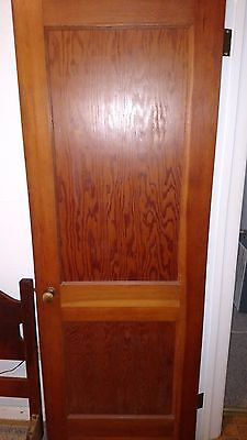 ANTIQUE VINTAGE 2 PANEL INTERIOR DOOR 28 x 77 approx NOT PAINTED