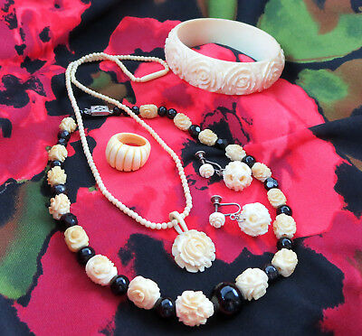 Antique Vtg Carved Bovine Bone & Celluloid Necklace Bangle Bracelet Ring Set Lot