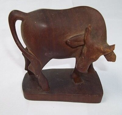"Vintage Hand Carved Wood BULL  FIGURE 4.5"" T x  6.5""L"