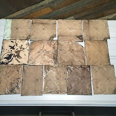 "13pc Lot of 12"" and under Antique Ceiling Tin Vintage Reclaimed Salvage Art"