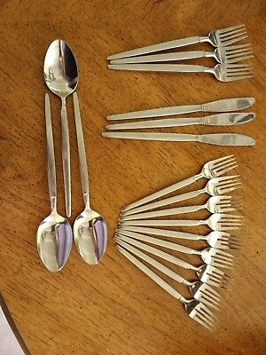 Astro SRI Stanley Roberts Stainless Steel Japan 17 pieces: forks, tbls, knives