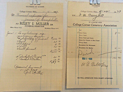 2 Cemetery, Funeral Statements, 1929, College Corner, OH, Campbell Family
