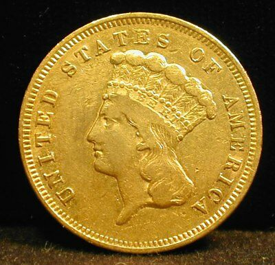 1857-S $3 Gold Type Coin Rare AU Condition   --coin looks better in hand (MTTMZ)