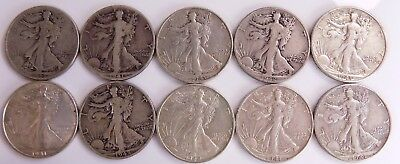 Lot Of 10 Walking Liberty Half Dollars Free S/h # 1046