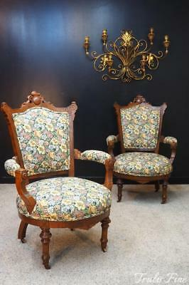 CHARLES EASTLAKE  Large Pair Antique Victorian Revival Walnut Parlor Arm Chairs
