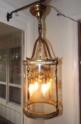 Antique 1920's Solid Brass Grand Entryway Chandelier Ceiling Fixture Lamp Light