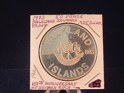 Falkland Islands 50 Pence Silver Proof Coin 1983