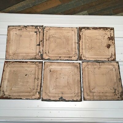 "6pc Lot of 12"" Antique Ceiling Tin Vintage Reclaimed Salvage Art"