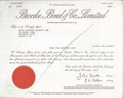 Aktie GB: Brooke, Bond & Co. Ltd. über 500 St. v. 7.12.1965