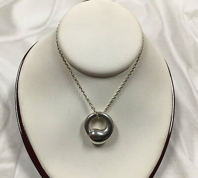 "Sterling Silver Tiffany and Co Elsa Peretti Eternal Circle Necklace 16"" [01BE]"