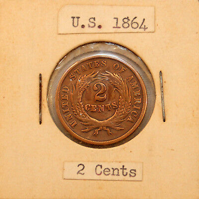 1864 2¢ US Two Cent Piece Coin Key Date First Year Issue & In God We Trust FINE+