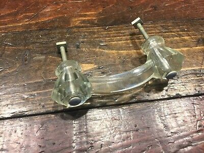 20815 Antique GLASS Cabinet Double Knob // Vintage Drawer Door Pull Handle