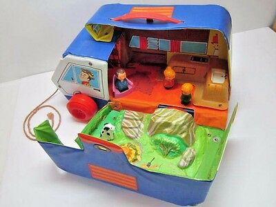 Vintage Rare 1971 Ideal Family Camper Vinyl Play Set With People 1970's Htf Toy