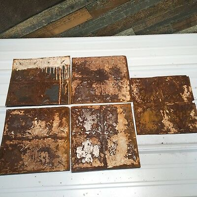"5pc Lot of 12""  Antique Ceiling Tin Vintage Reclaimed Salvage Art"