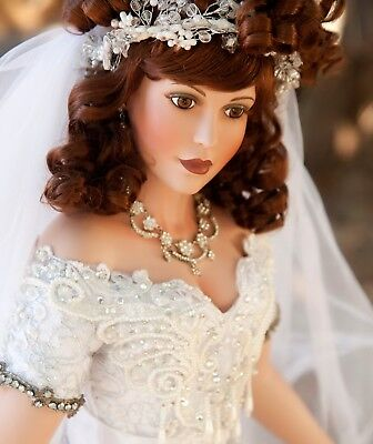 "PORCELAIN BRIDE WEDDING DOLL  By RUSTIE  RARE 35"" PATRICIA ROSE  VICTORIAN Look"