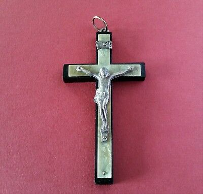 Vintage Wood and Celluloid Pectoral Crucifix Cross w/ Metal Corpus & INRI Plaque