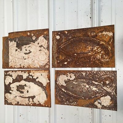 "4pc Lot of 11"" x 6"" Antique Ceiling Tin Vintage Reclaimed Salvage Art"