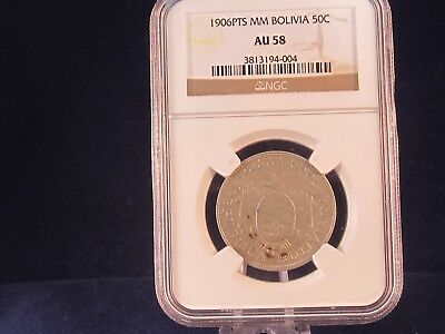 Bolivia Silver 1906PTS 50 Cent Coin NGC AU58