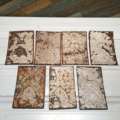 "7pc Lot of 10"" by 6"" Antique Ceiling Tin Vintage Reclaimed Salvage Art"