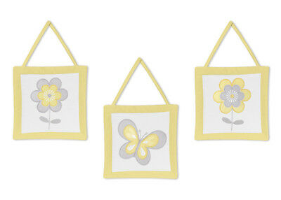 Wall Art Decor Hangings For Yellow Gray Mod Butterfly Garden Baby Bedding Set