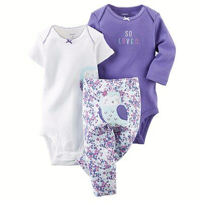 NEW NWT Girls Carter's Preemie Premature 3 Piece Purple Owl So Loved Set