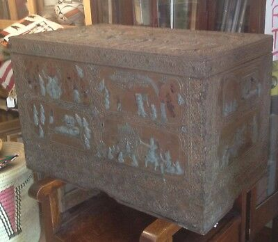 Indian DOWRY CHEST 19th Century RARE Incredible DECORATED Look at THIS!!