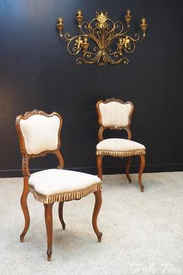 Pair Antique French Boudoir Slipper Game Table Chairs Upholstered Hand Carved