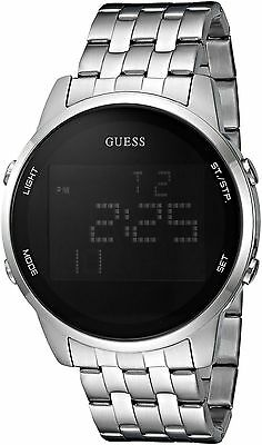 GUESS Men's Black and Silver-Tone Digital Chronograph Watch U0786G1