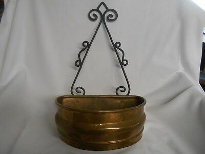 vtg curved brass planter wall hanger or standing w black wrought iron repurpose