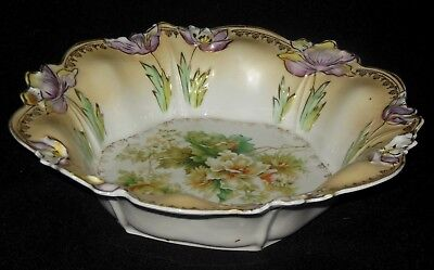 R S Prussia Hand Decorated Large Bowl Roses Daises Embossed Raised Flower Edge